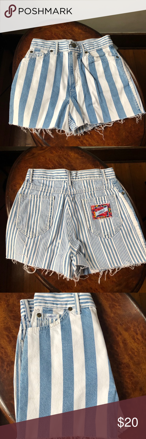 Striped Shorts 80s High Waist Denim Cutoff 90s XS Striped Shorts 80s Jeans High Waisted Denim Cutoff 90s White Blue Vintage XS Vintage 80s 90s cutoff shorts by Chic in blue and white striped denim. high waist, raw cut off hem.  model is 5'7 and measures 32-24-35. Best fits: Extra Small Condition: Very good vintage (light general wear) – some fraying at the bottom, a few bleach spots Material: Denim  Taken from seam to seam while the garment is lying flat. Double the armpit, waist, and hips. Wai #denimcutoffshorts