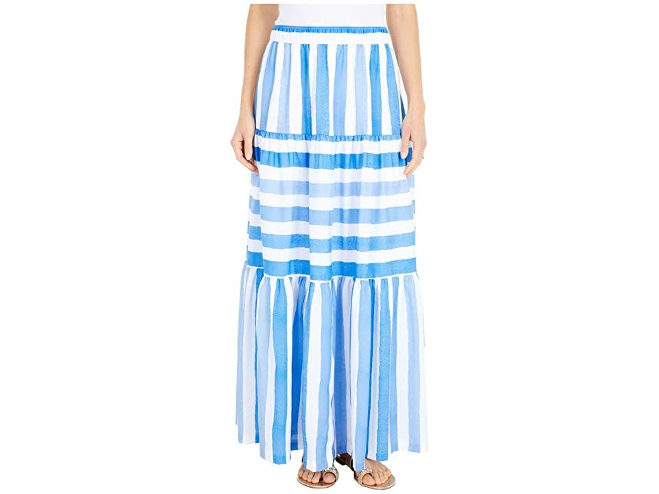 Vineyard Vines Tiled Stripe Maxi Skirt - Women's Skirt : Bimini Blue : The vineyard vines Tiled Stripe Maxi Skirt is the perfect finishing touch for your eye-catching look with a mixed striped print, tiered finish, and an easy pull-on design. Maxi skirt is featured on a poly fabrication. Elasticized waistline. Straight hem intended to hit at the ankle. Skirt is fully lined. 100% polyester; Lining: 100% rayon. Machine wash, tumble dry. Imported. Measurements: Skirt Length: 40 in Waist Measurement
