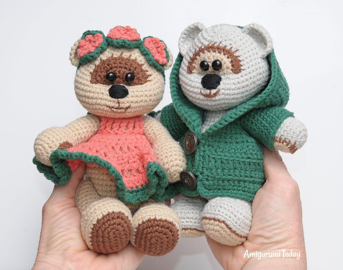 Honey teddy bears in love: crochet pattern | Miel, Osos y El amor