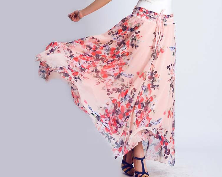 Floral maxi skirt dress 0134 by xiaolizi on Etsy, $39.99