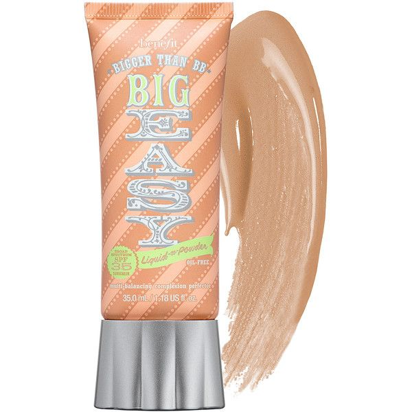 Benefit Cosmetics The Big Easy Liquid To Powder SPF 35 Foundation (705 MXN) ❤ liked on Polyvore featuring beauty products, makeup, face makeup, foundation, moisturizing foundation, benefit foundation, oil free foundation and spf foundation