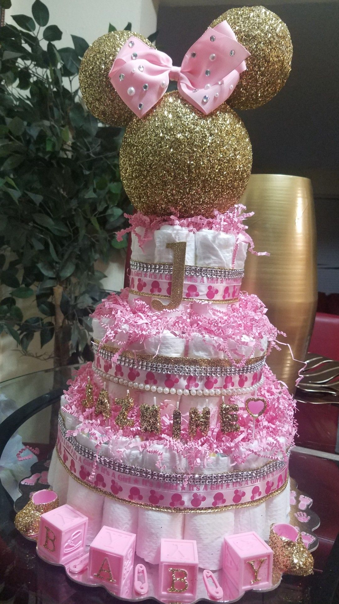 Minnie Mouse Diaper Cake With Images Disney Baby Shower Baby