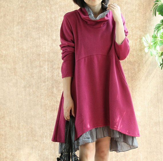 Rose red halfturtleneck cotton dress casual loose by ElegantGens, $56.90