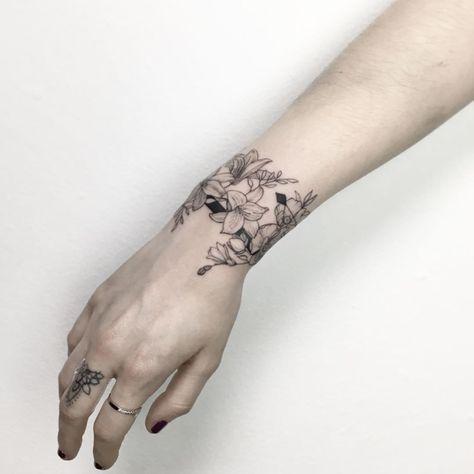 Floral Bracelet Tattoo By Ynnopya Wrist Bracelet Tattoo Cuff Tattoo Wrist Tattoos
