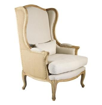 Leon French Country High Back Linen Wing Chair   Too Short But Cute Style