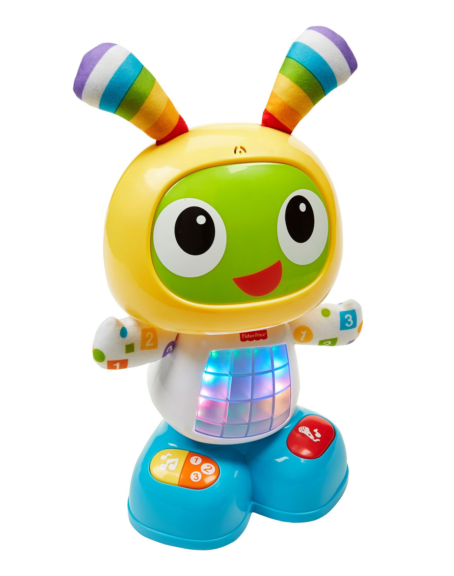 BeatBo is an adorable animatronic pal that encourages baby to get up and move, and helps teach baby too! A press of BeatBo's tummy or any of the buttons on his feet activates fun songs, learning content and dance moves. This futuristic friend even allows mommy or baby to record a phrase, and he'll remix it into his favorite song! His 3 modes - Dance 'n Move, Learning & Games, and Customized Sing-Along -