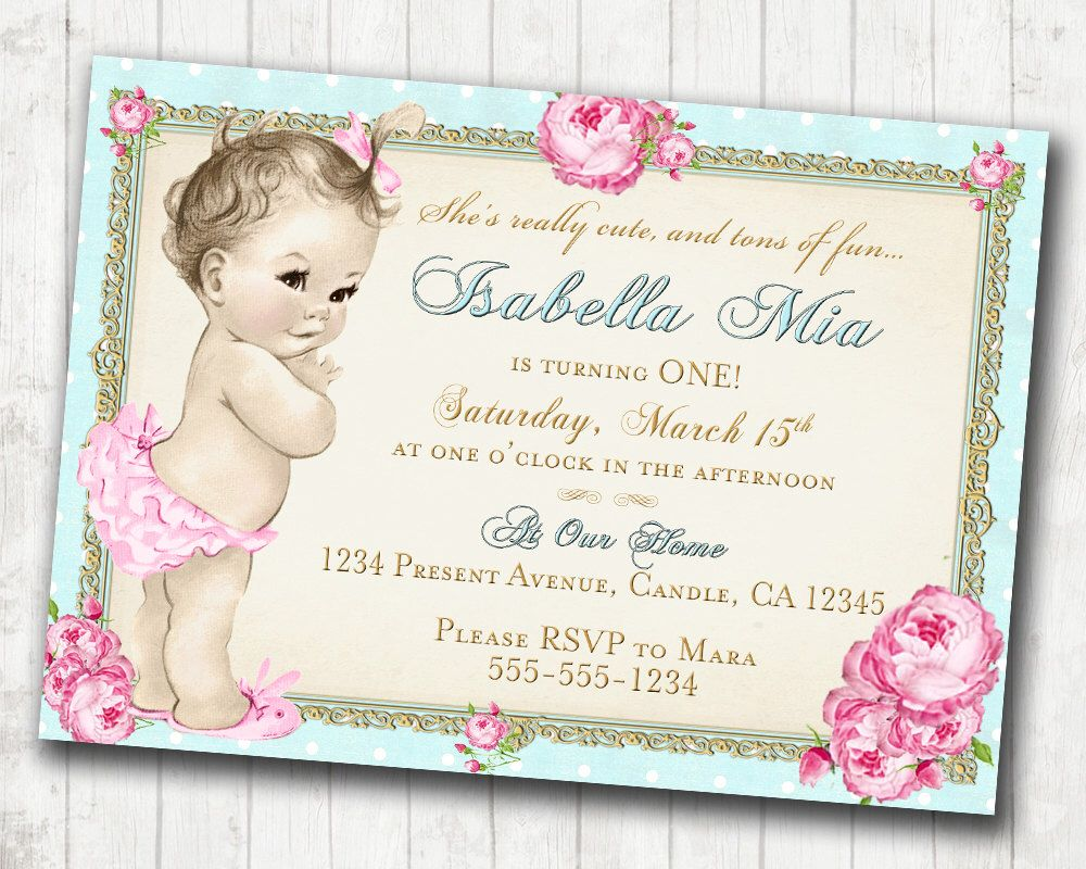 1st Birthday Invitation for Girl - Shabby Chic Birthday - Floral ...
