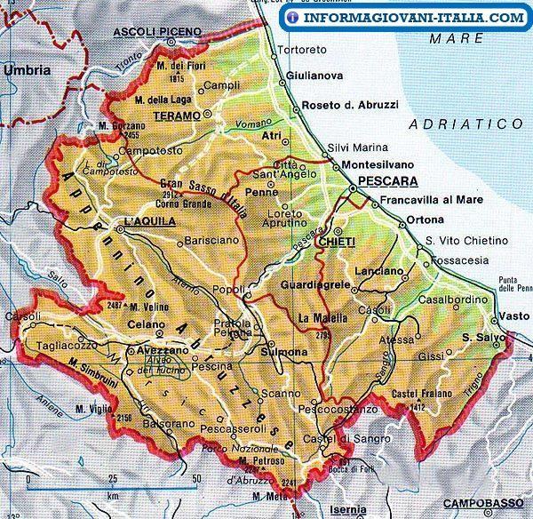 Cartina Geografica Costa Adriatica Marche.Mappa Dell Abruzzo Cartina Dell Abruzzo Mappa Dell Italia Mappa Monumenti