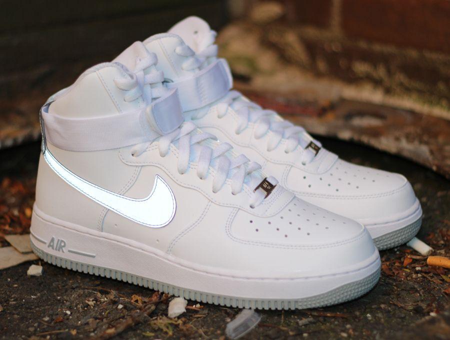 Nike Air Force 1 High White Reflective Silver Sneakernews Com Nike Wear Nike Shoes Women Sneakers Fashion