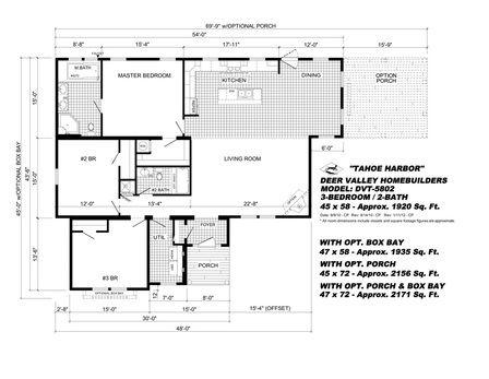 Tahoe Harbor Deer Valley Modular Home Floor Plan 1920 Sqft 3 Br 2 Ba Open