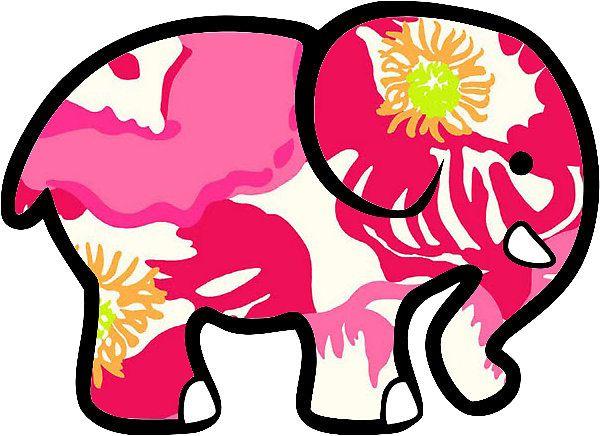 b4d85d48fc1bf0 Ivory Ella Elephant Sticker Lilly Pulitzer Inspired Print ...