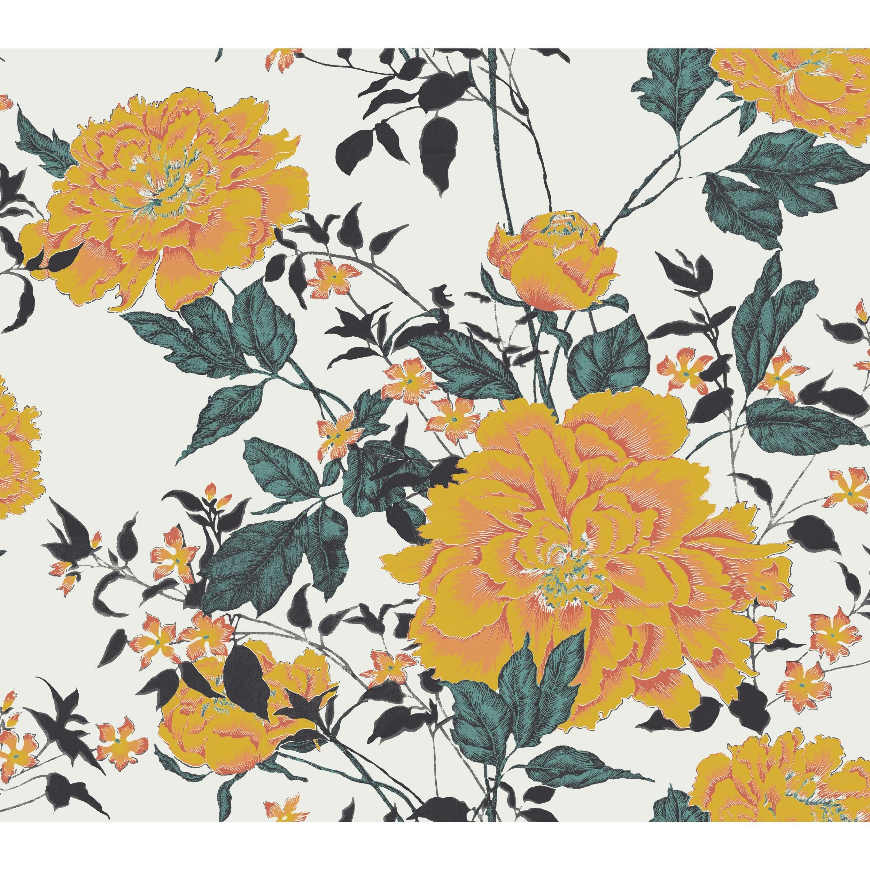 Vintage Floral Yellow Peel Stick Wallpaper By Drew Barrymore Flower Home Walmart Com Vintage Flowers Wallpaper Vintage Floral Wallpapers Peel And Stick Wallpaper