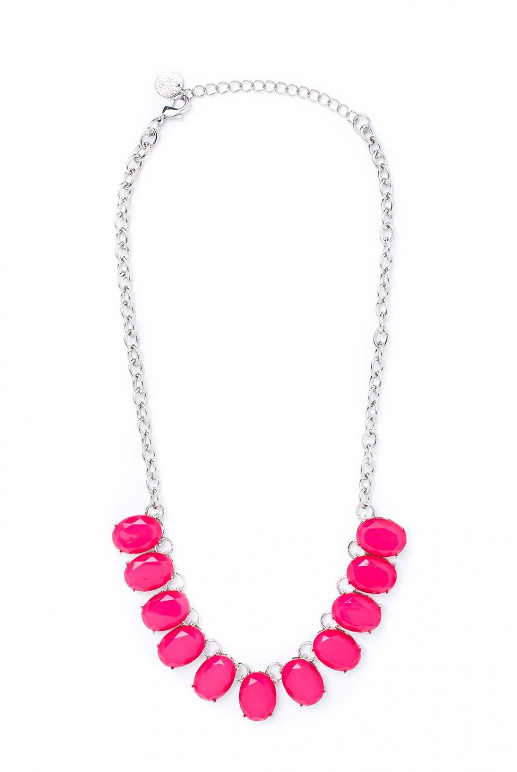 US$19.97 Purest pink is one of your boldest colors and now you have a necklace to match all your daring looks. Sitting high and perfectly centered, your energy will feel perfectly in place with this symmetrical necklace as your compa