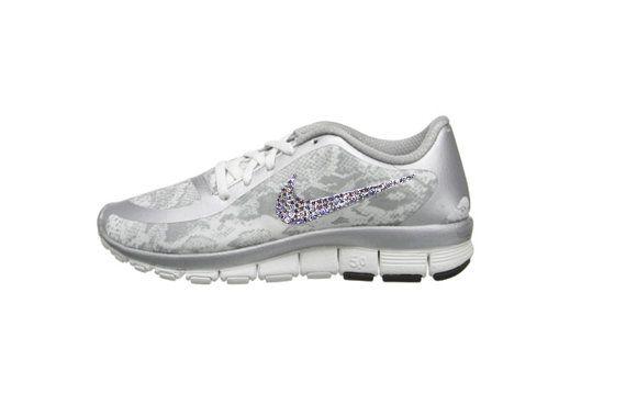 Bling Nike Free 5.0 V4 White Snake Skin by GoldHomeCouture