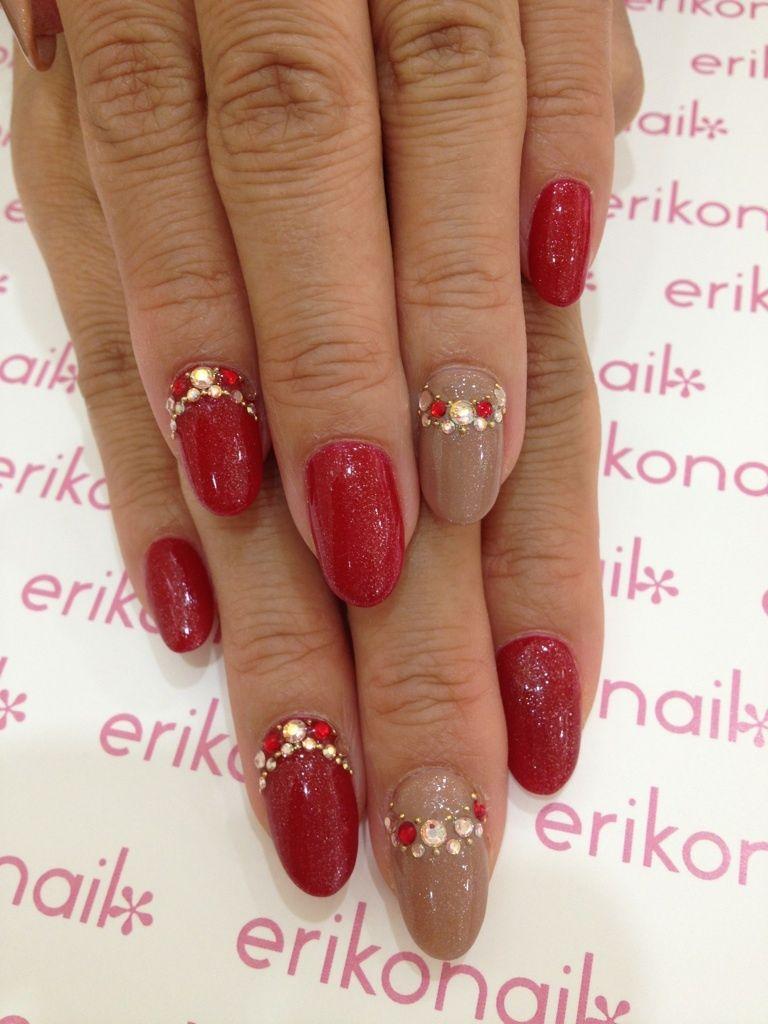 Red Crystal Nails Nailart