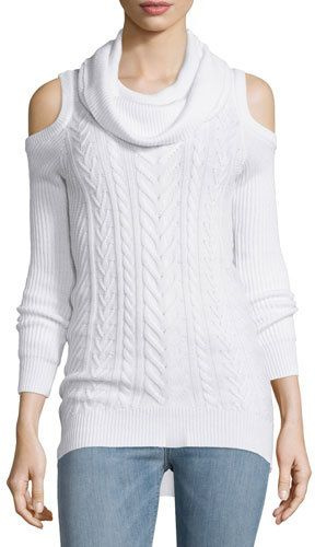 Haute Hippie Cotton Cable-Knit Cold-Shoulder Sweater, Swan