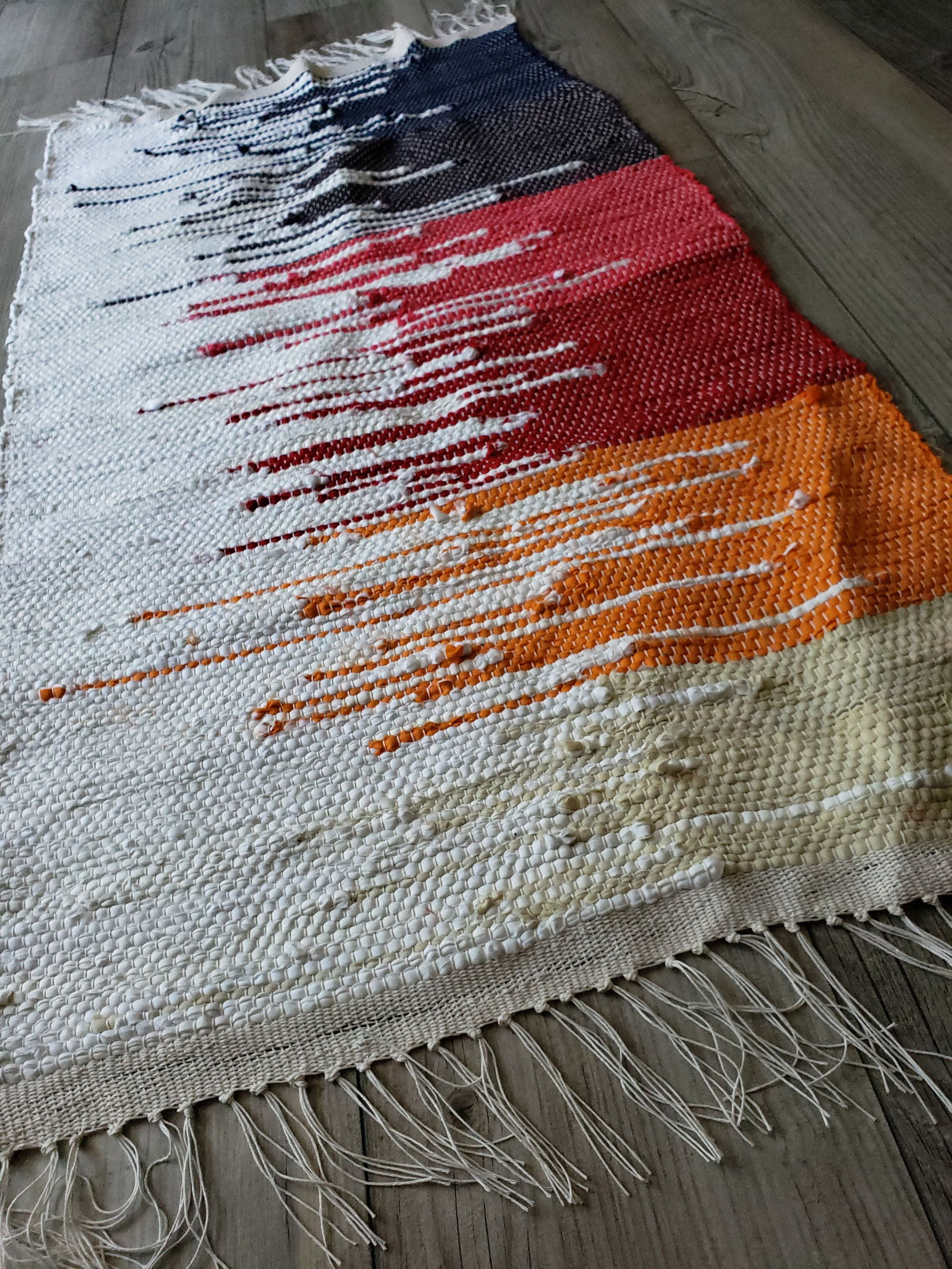 Rainbow Clasped In White Handwoven Rag Rug A Handwoven Masterpiece With An Ecofriendly Feel Etsy Etsyseller Upcycleddecor Rag Rug Handwoven Rugs Diy Rug