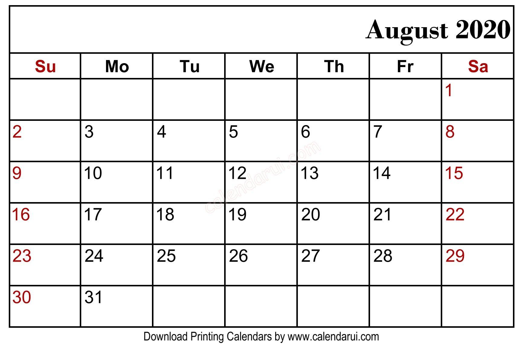 August 2020 Blank Calendar Printable Free Download Blank