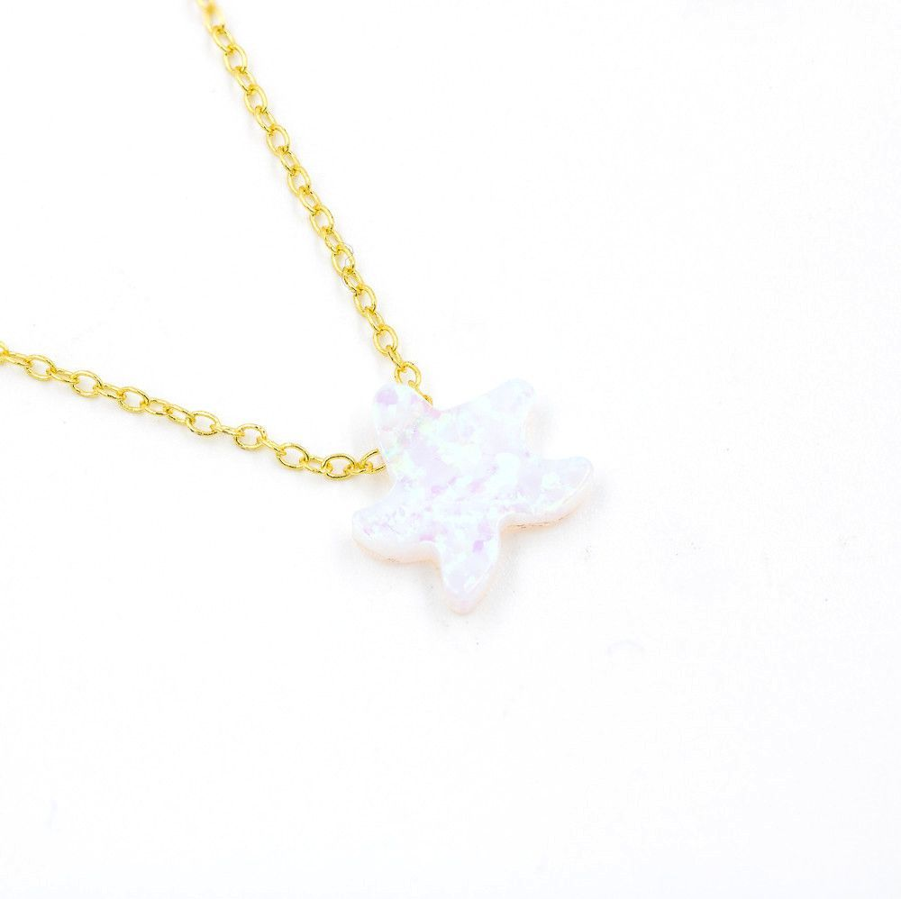 ZDN1036-WOP-GD 925 STERLING SILVER GOLD PLATED STAR WHITE OPAL NECKLACE