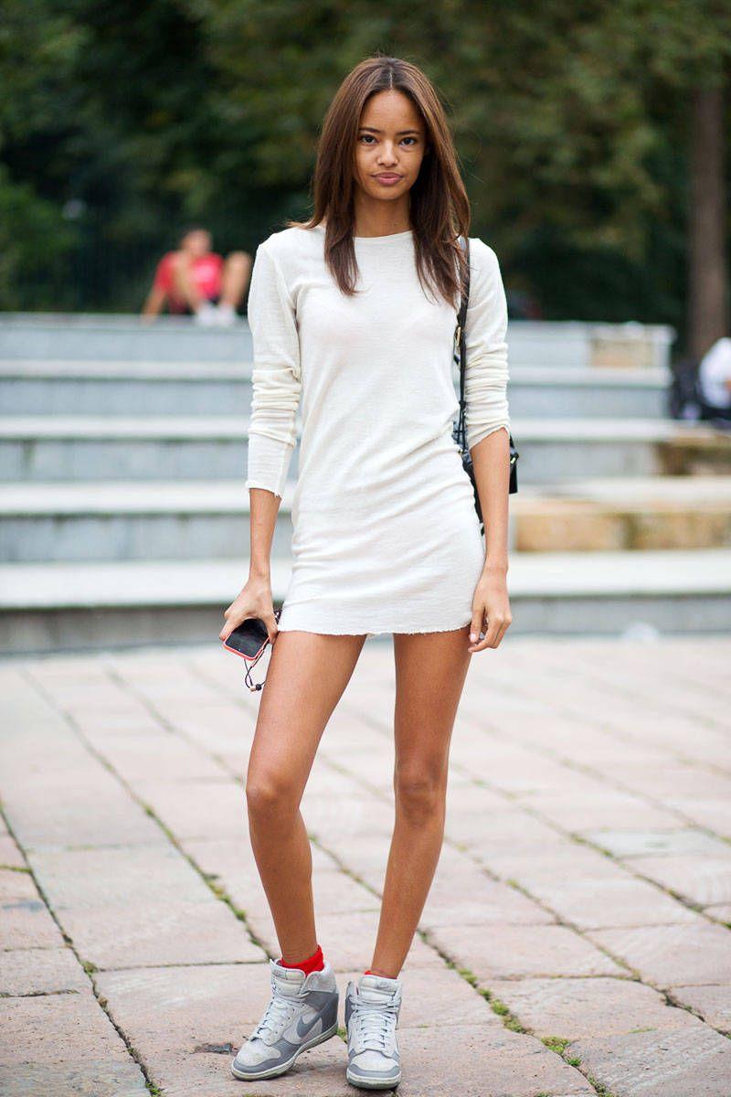 Nike kicks + mini dress.