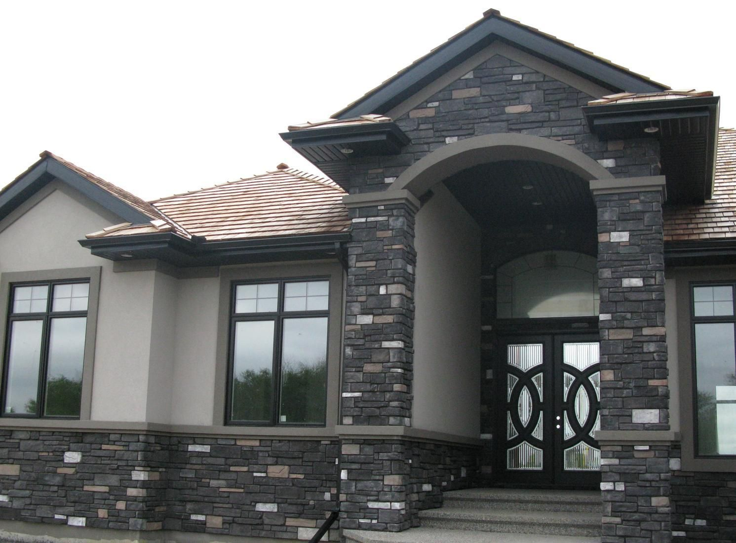 Alberta ledgestone for the home pinterest modern for Black stone house
