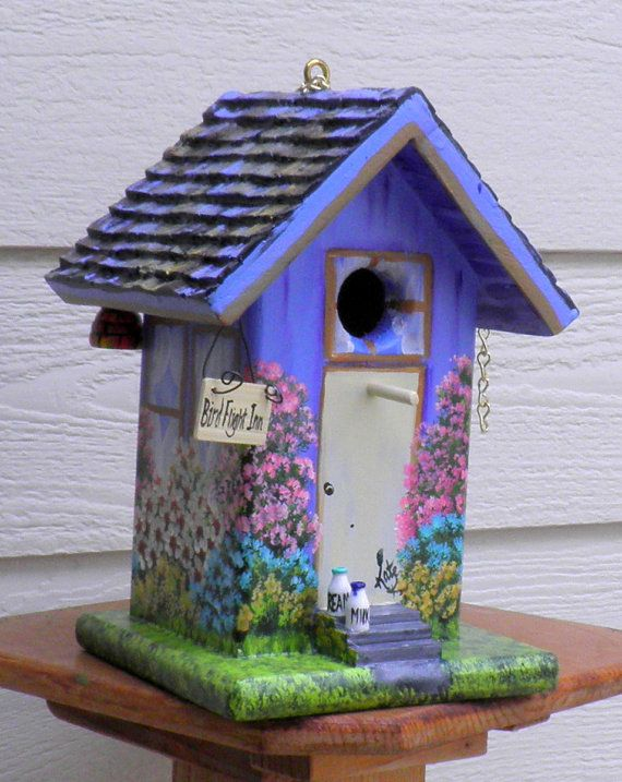 birdhouse inn lavender and brown outdoor garden decoration with the birds and bees in mind. Black Bedroom Furniture Sets. Home Design Ideas