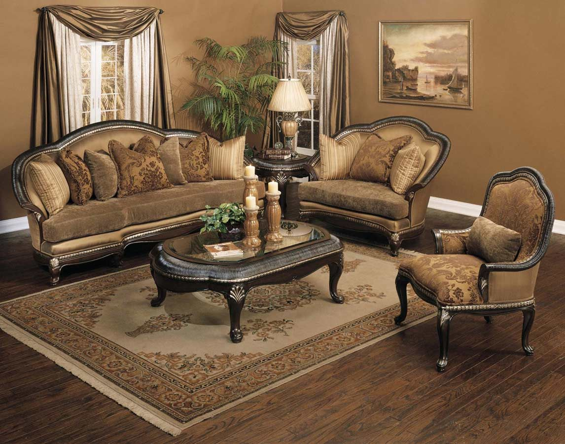 Most traditional sofas are oversized and have large wood frames with ornate