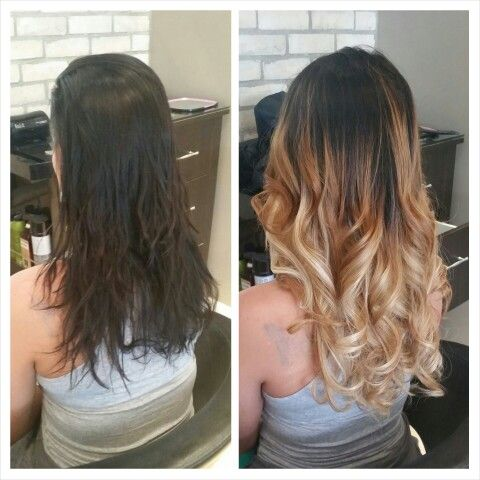 Before Amp After Fusion Hair Extensions And Ombr 233 Hair
