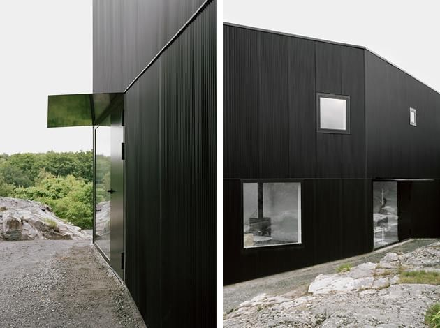 Black Corrugated Iron Used Along The Private Facade And In