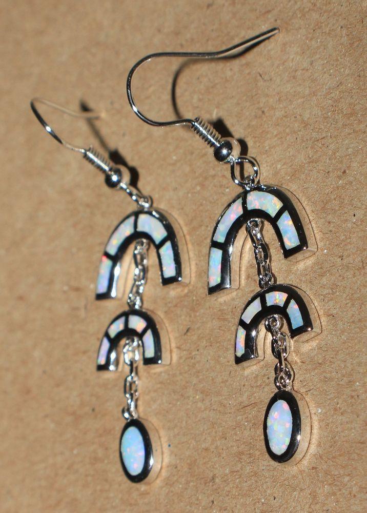 white fire opal earrings Gemstone silver jewelry elegant cocktail drop/dangle N3 #DropDangle