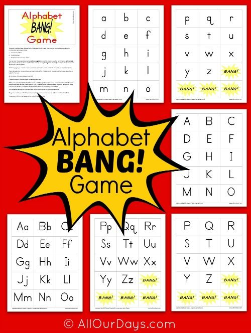 Free Alphabet BANG! Game Printable | All Our Days Blog