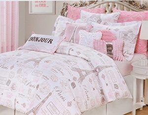 High End Designer Pink Paris Themed Twin Vintage Duvet Cover
