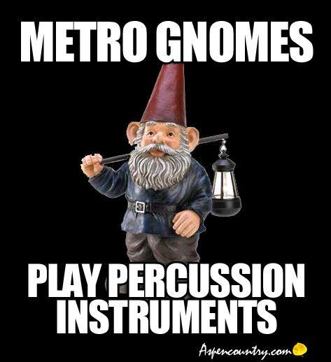 Little Gnome Trivia: Metro Gnomes Play Percussion Instruments.