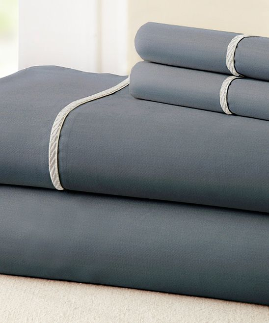 Charcoal & White Rope Hem Sheet Set