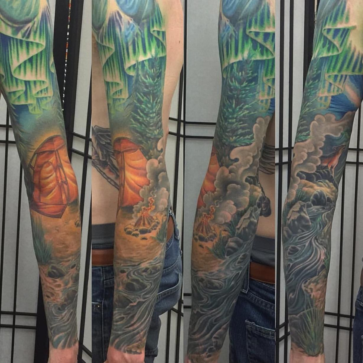 Just finished my sleeve. Camping themed. Hard to capture but very stoked on it. Done by Matt Tillman at Hold Fast Tattoo in Redwood City CA.