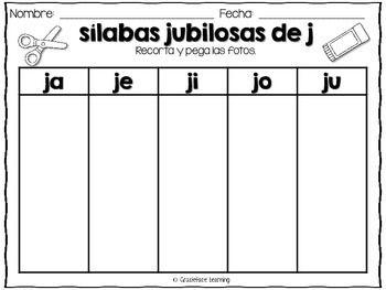 Silabas Jubilosas Spanish Phonics Activities For Ja Je Ji Jo