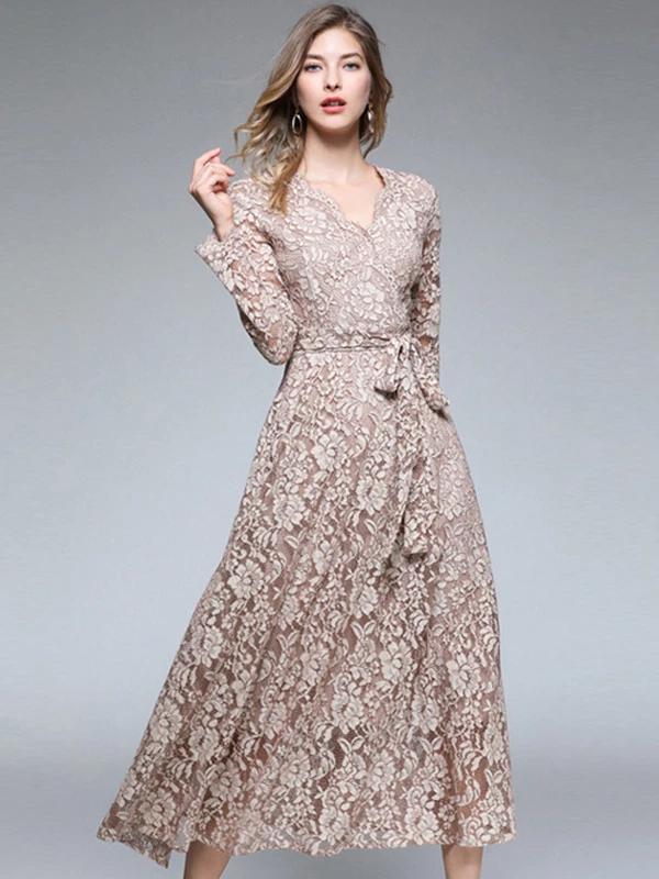 Embroidery Lace V Neck Long Sleeve Maxi Dress Dressab Model Baju Wanita Desain Blus Wanita