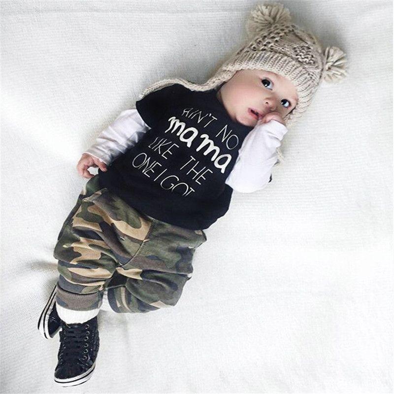 Pants Black Fashion Outfits Clothes Set 0-24M Kids Infant Baby Boy Long Sleeve Letter Crewneck Blouse Tops
