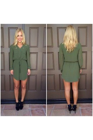 Olive Green Tie Waist Shift Dress with Zipper Pockets | USTrendy