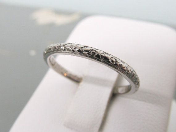 Orange Blossom Ring Platinum Wedding Band Antique Engraved 1910s Art Nouveau Dainty Fl Size 7