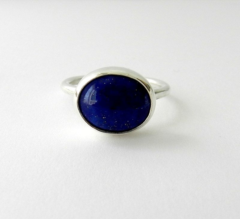 Lapis Lazuli Ring. Sterling Silver Blue Stone Ring.  simple jewelry. $70.00, via Etsy.