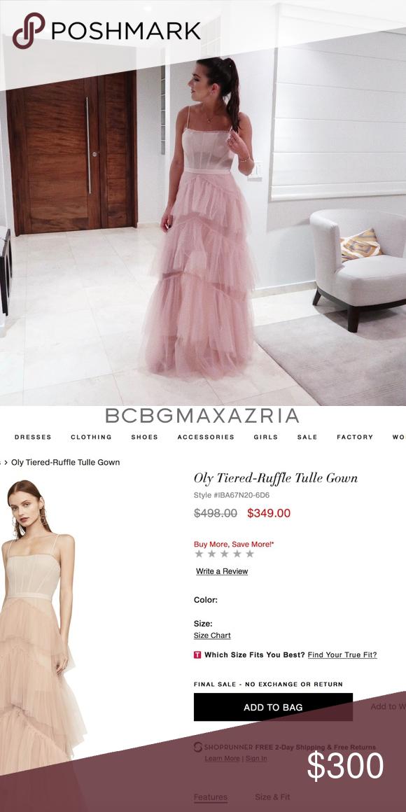 0348fc2b388f BCBGMaxAzria Oly Tiered-Ruffle Tulle Gown BCBGMaxAzria Oly Tiered-Ruffle  Tulle Gown used once for a wedding BCBGMaxAzria Dresses Maxi