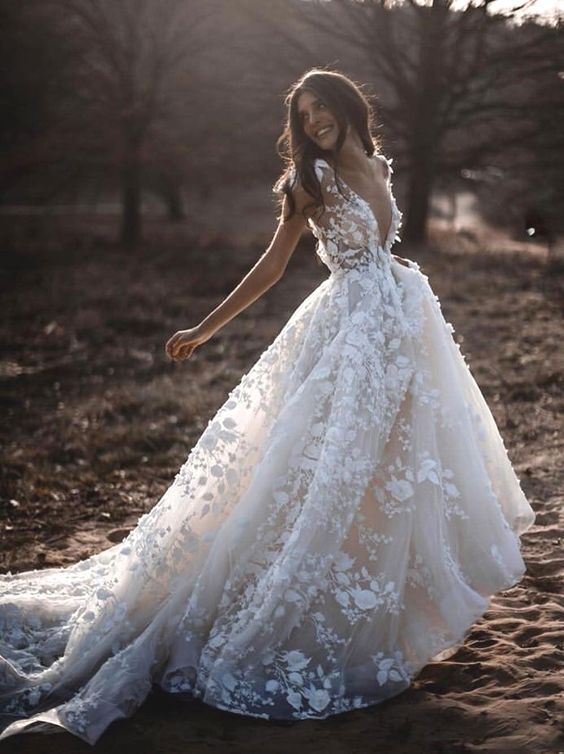 Lace Floral Wedding Dresses with Sheer V-neckline