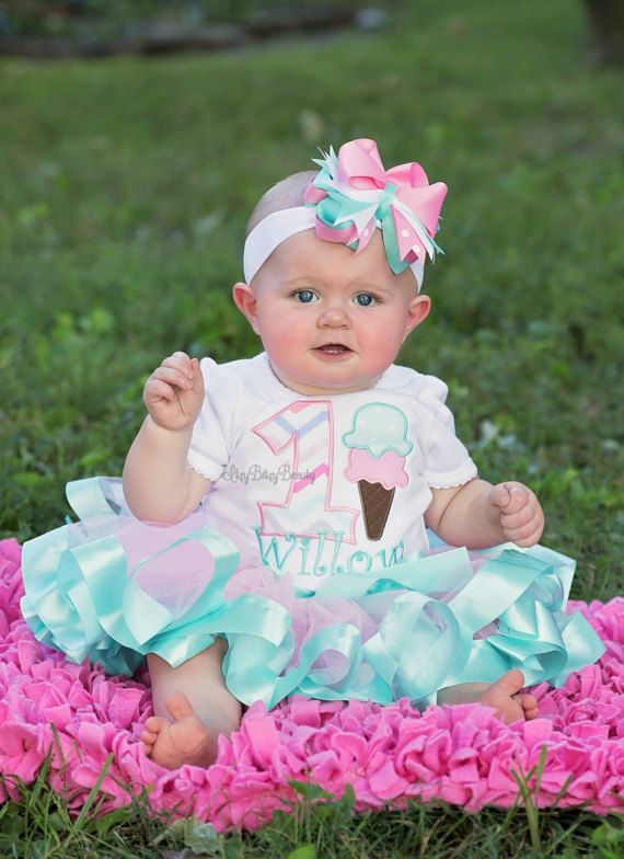 9bf1b11eeafd Ice Cream Birthday Outift - Ice Cream Shirt Or Bodysuit - Girls First Birthday  Outfit - Pink Mint Ribbon Tutu - Headband | Ice Cream Theme Party | First  ...
