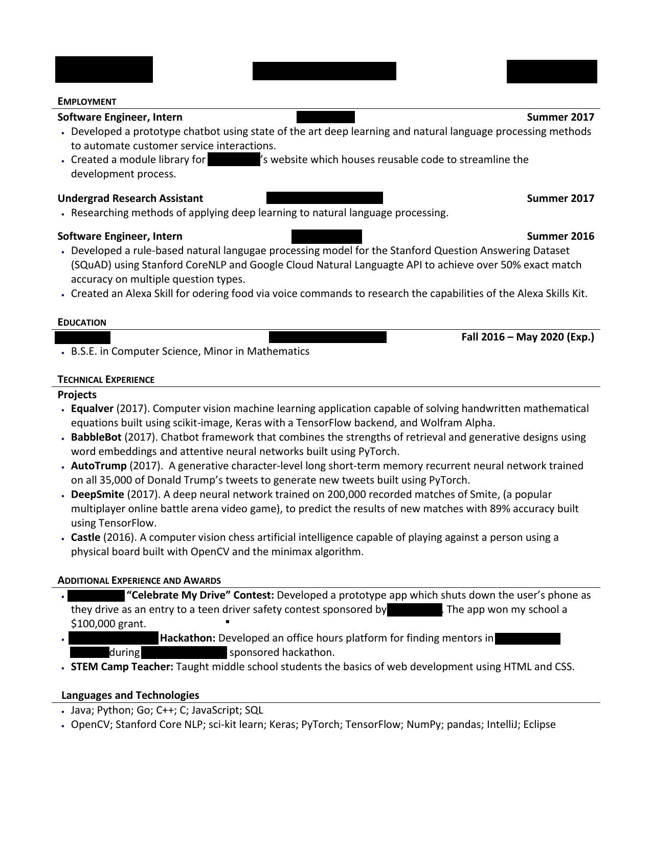 Computer Science Undergraduate Resume Trendy Puter Science