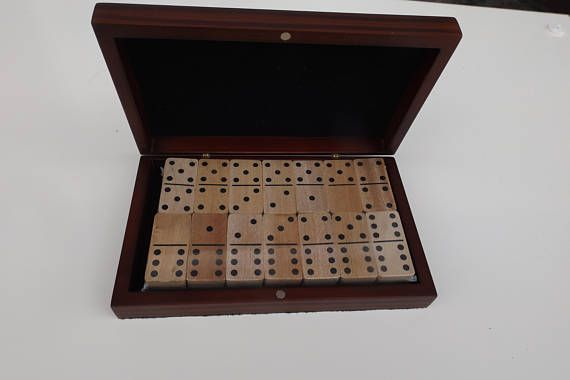 New Bella Lux Complete Set 28 Double Six Wooden Dominoes Box Toy