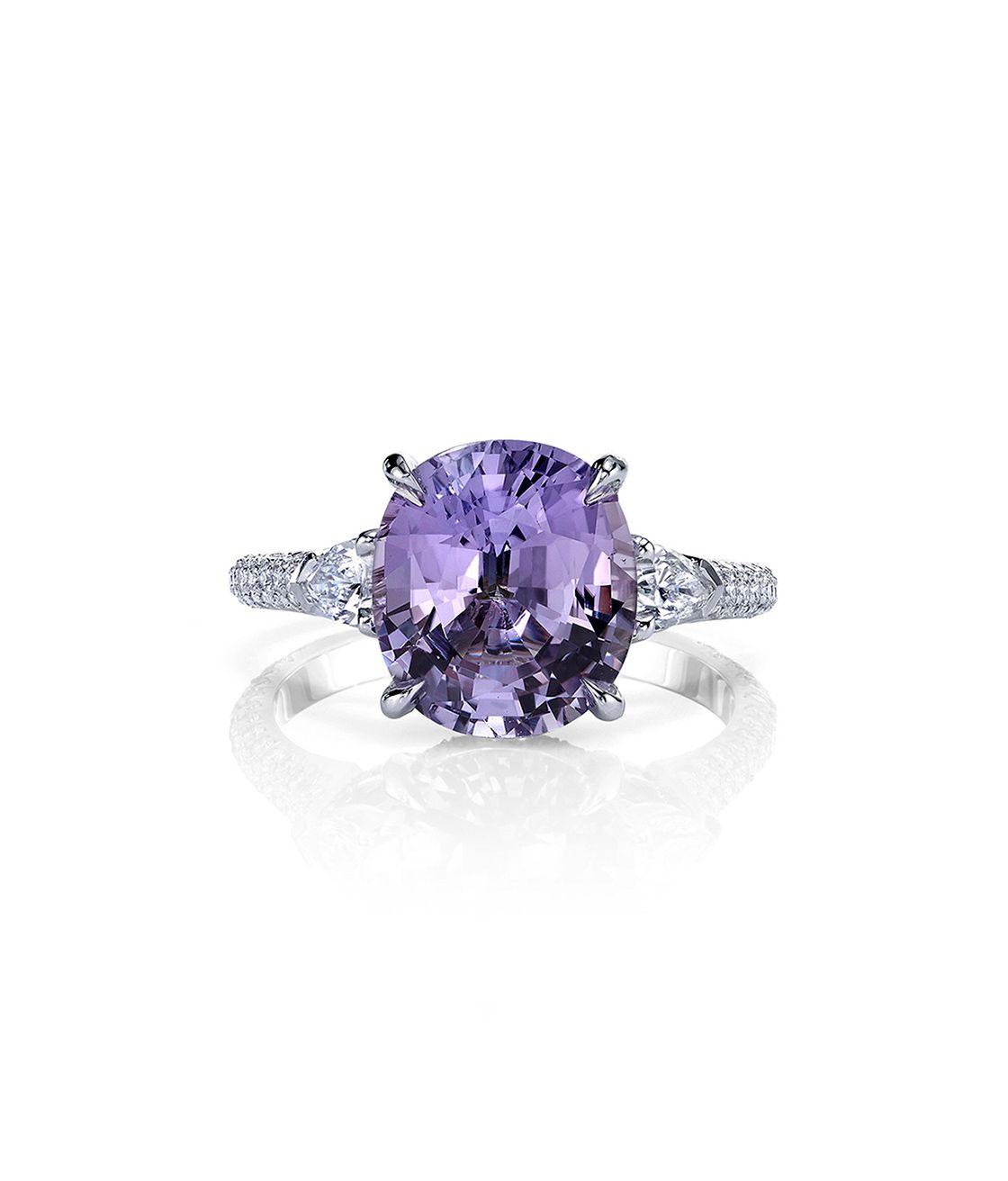 Jean Dousset Farrah Oval Purple Sapphire Engagement Rings