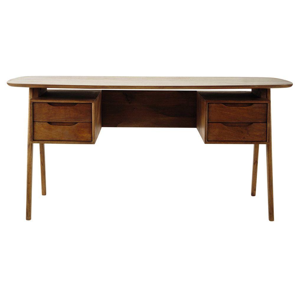 Mangohouten bureau in vintage stijl | In het Huis | Pinterest