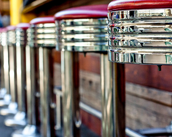These chrome and red vinyl, art deco, American diner stools weren\'t ...