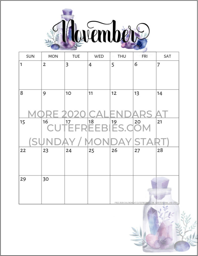 Cute November 2020 Calendar Free Printable 2019 2020 Calendar   Crystal Gems |   2020 Calendar
